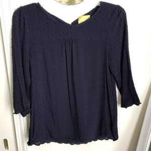 Navy Ruffled Maeve Blouse w/Scalloped SleeveSize 2